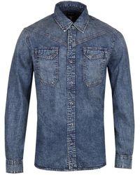 True Religion Carter Western Blue Denim Shirt