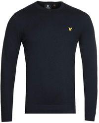 Lyle & Scott Dark Navy Cotton Merino Sweater - Blue