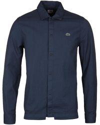 Lacoste L!ive - Lacoste L!ve Blue & Black Seersucker Coach Shirt - Lyst