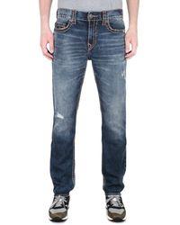 True Religion Geno Slim Super T Distressed Blue Jeans