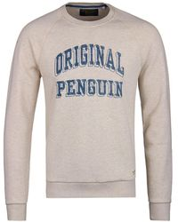 Original Penguin - Mirage Grey Printed Crew Neck Sweatshirt - Lyst