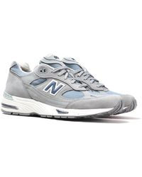 New Balance M991 Made In England Light Grey Leather Trainers