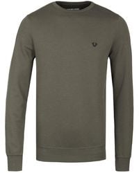 True Religion - Doubleface Dusty Olive Crew Neck Jumper - Lyst