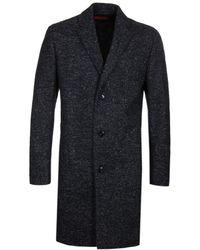 HUGO Miratus Navy Fleck Wool Overcoat - Blue