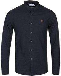 Farah True Navy Steen Grandad Collar Long Sleeve Shirt - Blue