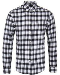 Gant Rugger - Downtown Twill Flannel Black Check Shirt - Lyst