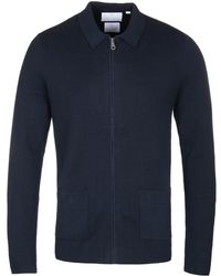 Lyle & Scott - Navy Milano Zip Up Knitted Cardigan - Lyst