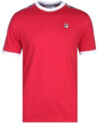 Fila - Woven Taping Red T-shirt - Lyst