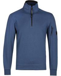 C P Company Half Zip Arm Lens Steel Blue Turtle Neck Sweatshirt