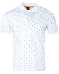 Paul & Shark Print Organic Cotton Polo Shirt - White