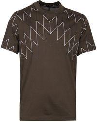Neil Barrett Football Net Khaki T-shirt - Natural