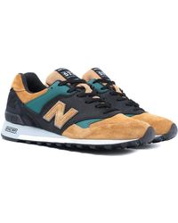 New Balance Made In England M577 Tan, Black & Green Sneakers - Blue