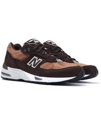 New Balance M991 Made In England Dark Brown Suede Sneakers