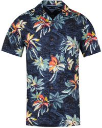 Tommy Hilfiger Short Sleeve Hawaiian Print Shirt - Blue