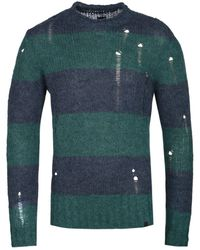 Pretty Green Distressed Detail Block Stripe Navy & Green Sweater - Blue