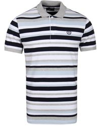 Henri Lloyd Fargim Gray, White & Blue Stripe Pique Polo Shirt