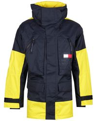Tommy Hilfiger Limited Sailing Colourblock Parka Jacket In Navy/yellow