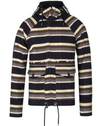 Pretty Green - Navy Multi Striped Brushed Cotton Jacket - Lyst