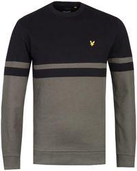 Lyle & Scott Panel Stripe Black & Olive Crew Neck Sweater