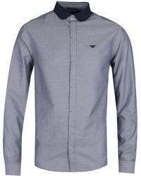 Emporio Armani Dobby Cotton Contrast Collar Tonal Navy Shirt - Blue