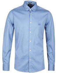 BOSS Reverse Garment Dyed Blue Shirt