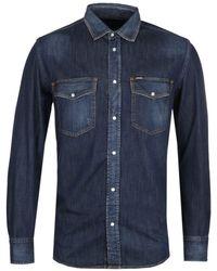 DIESEL D-rooke Dark Blue Denim Shirt