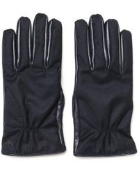 Emporio Armani - Leather Blue Gloves - Lyst