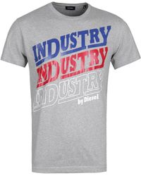 DIESEL Industry Logo Grey T-shirt - Gray