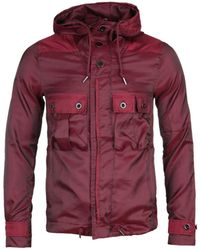 Pretty Green Iridescent Burgundy Hooded Jacket - Red