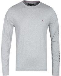 Tommy Hilfiger Long Sleeve Tommy Logo Gray Marl T-shirt