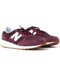 new balance 420 burgundy perforated suede trainers