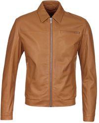 HUGO Lantik Tan Leather Jacket - Brown