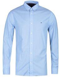 Tommy Hilfiger Regular Fit Sky Blue Poplin Long Sleeve Shirt