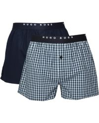 BOSS Black - Navy Two-pack Plain & Check Cotton Boxer Briefs - Lyst