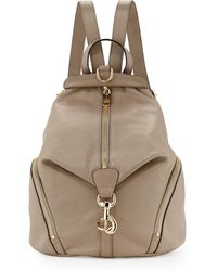 Rebecca Minkoff Julian Zipper-trim Leather Backpack Taupe - Lyst