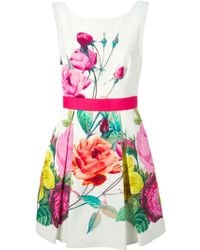 P.A.R.O.S.H. Floral Print Belted Dress - Lyst