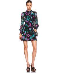 Saint Laurent Lavalliere Floral Georgette Dress - Lyst