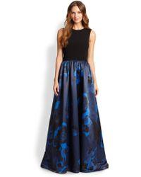 Aidan Mattox Jersey Printed-Skirt Gown - Lyst