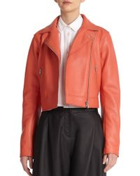 T By Alexander Wang Pebbled Leather Jacket - Lyst