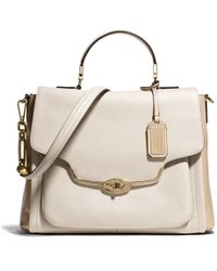 COACH Madison Sadie Flap Satchel in Spectator Saffiano Leather - Pink