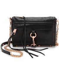 Rebecca Minkoff Mini Mac Bag with Rose Gold Hardware - Black - Lyst