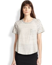 James Perse Contrast-striped Cotton Jersey Tee beige - Lyst