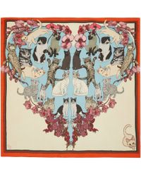 Silken Favours - Red Precious Pussies Silk Scarf - Lyst