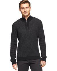 Calvin Klein Marled Jacquard Quarter-zip Sweater - Lyst