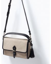 Zara Combined Suede Messenger Bag - Lyst