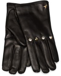 Patrizia Pepe Leather Gloves with Studs and Rhinestones and Wool Lining - Lyst