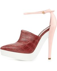 Stella McCartney Croc-Embossed Faux-Leather Sandal red - Lyst