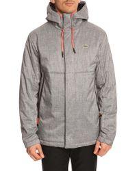 Lacoste Sport Grey Down Jacket with Fluorescent Orange Ties - Lyst