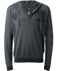 Diesel Gray Hooded Sweater - Lyst