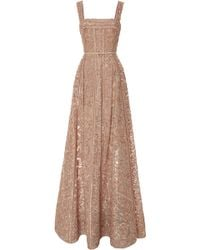 Elie Saab Embroidered Moonstone Tulle and Silk Georgette Gown - Lyst